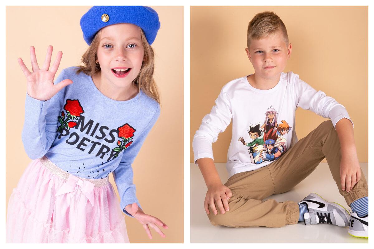 Bawełniane bluzki do szkoły z długim rękawem dla chłopca i dziewczynki