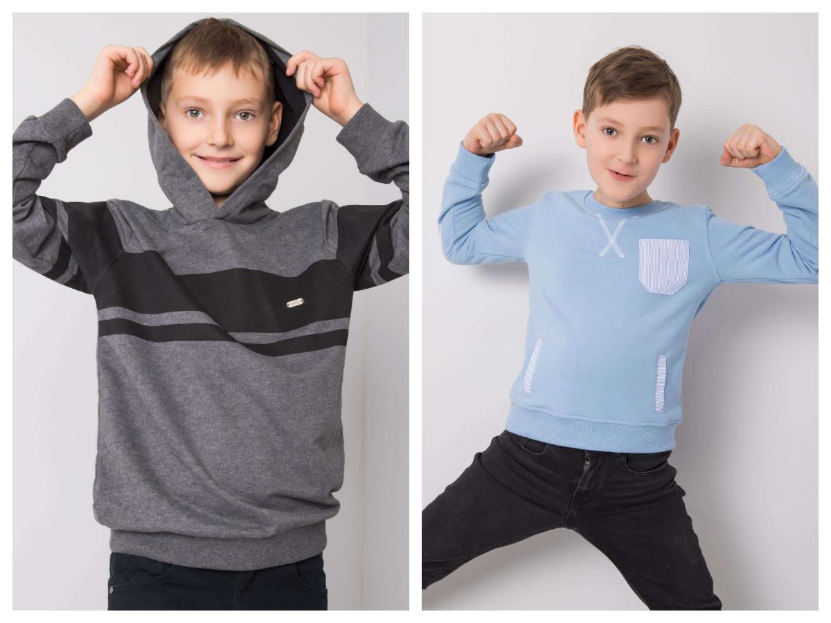 Bluzy basic dla chłopca do szkoły z kapturem