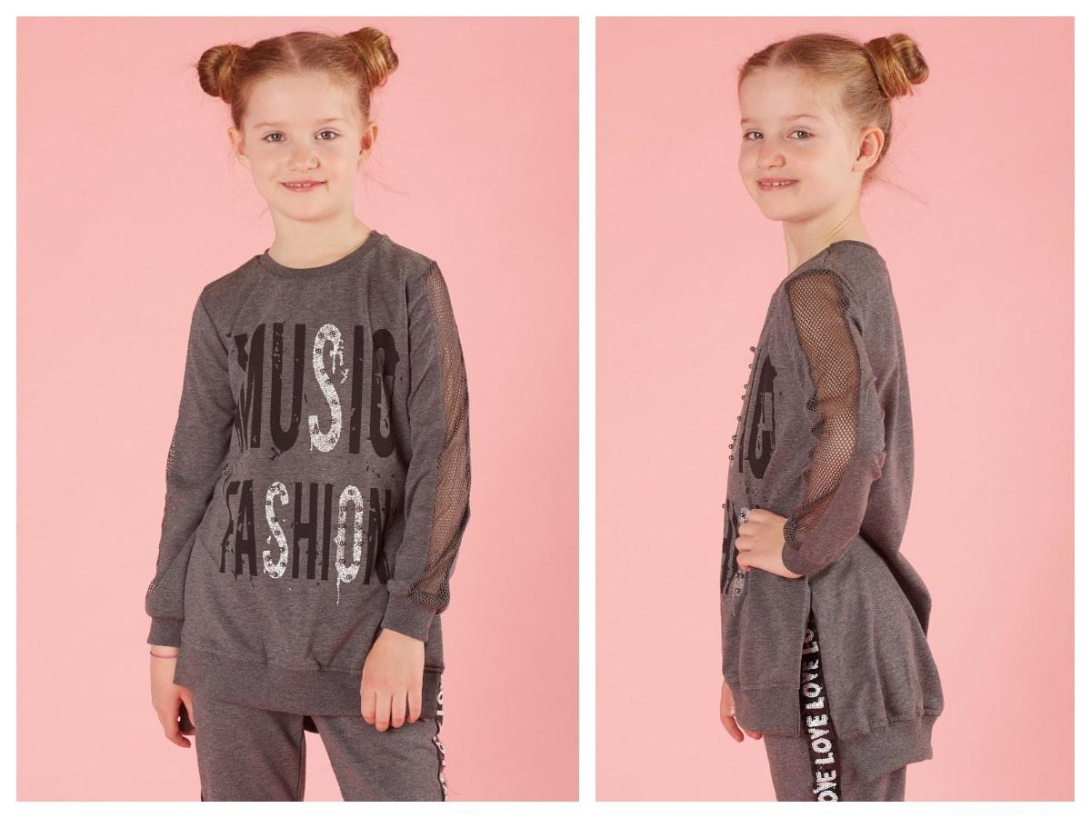 Szary komplet dresowy dla dziewczynki